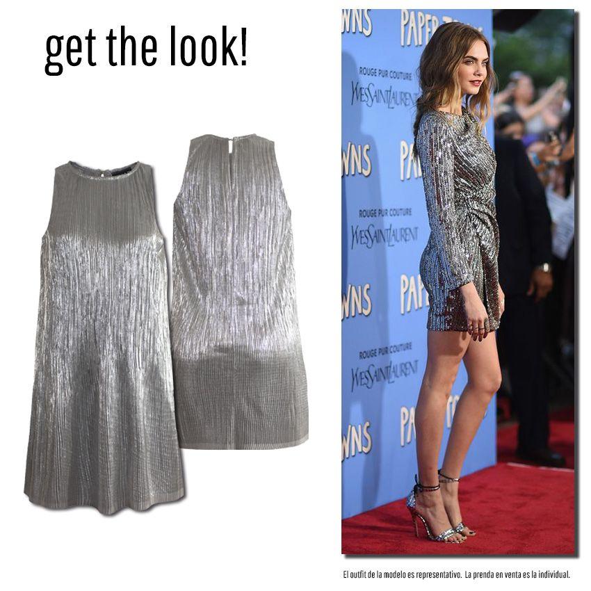 Vestido plata con tela plisada