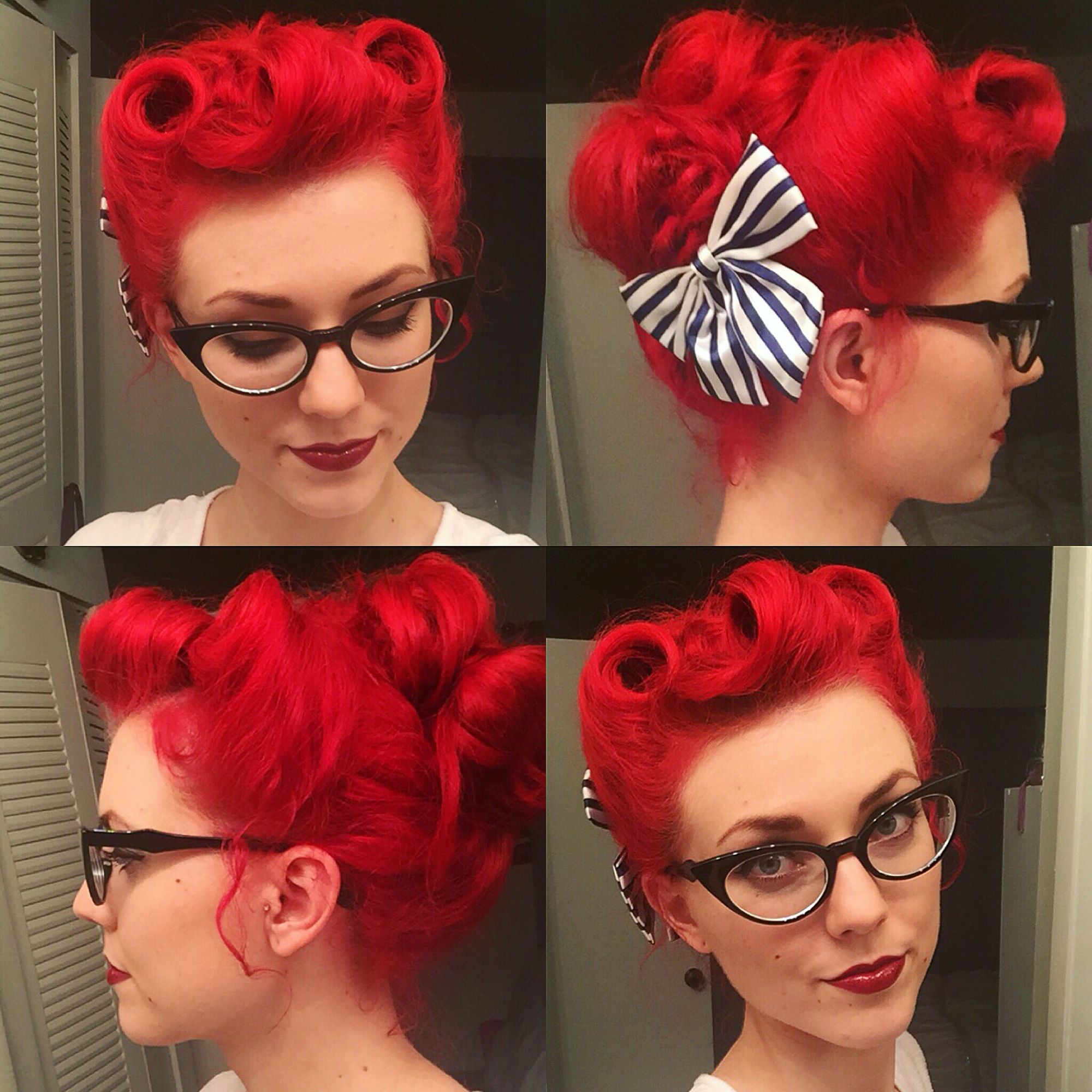 My hair for swing last night Three victory rolls and all the rest