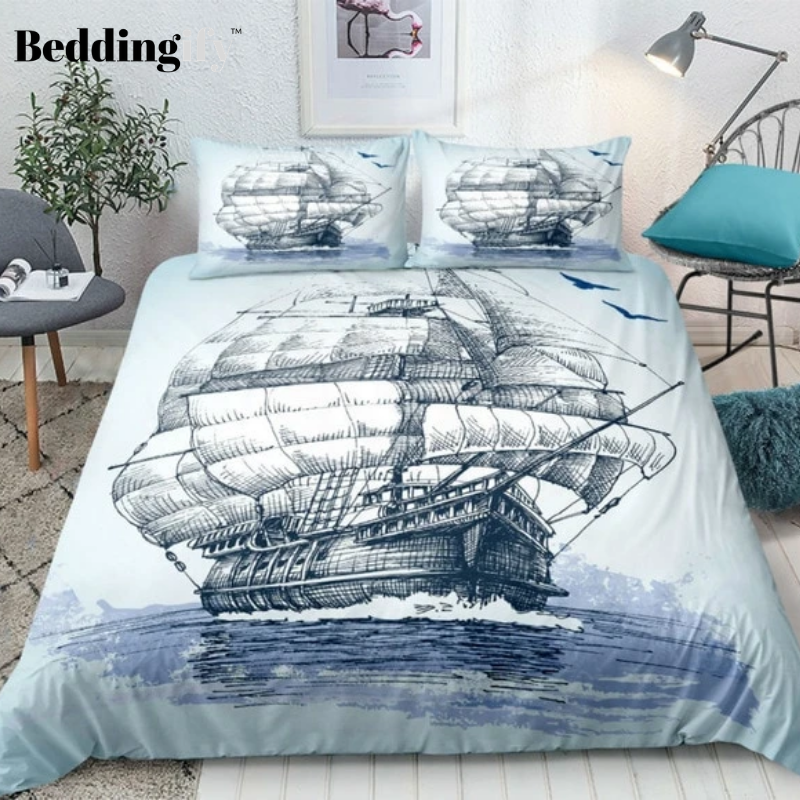 Duvet Cover Set-Bedding,Sailboat Nautical Decor Grunge Style Illustration of Two Racing Sailboats in A Windy Ocean Water Print,for Single Double King Bed//Made of Ultra-Soft Microfiber