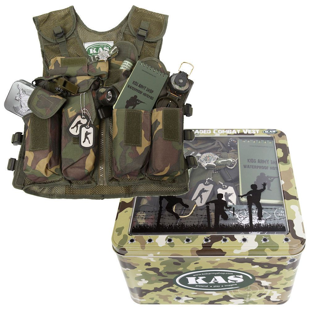 23120eec8 Kids Army Combat Vest Play Set Fully Loaded Camouflage Assault Vest*Fits  Age5-14