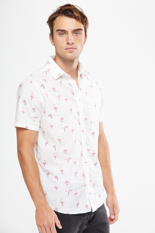 Sean John Mens Dress Shirt Short Sleeve Blue White Hawaiian Tropical Ocean