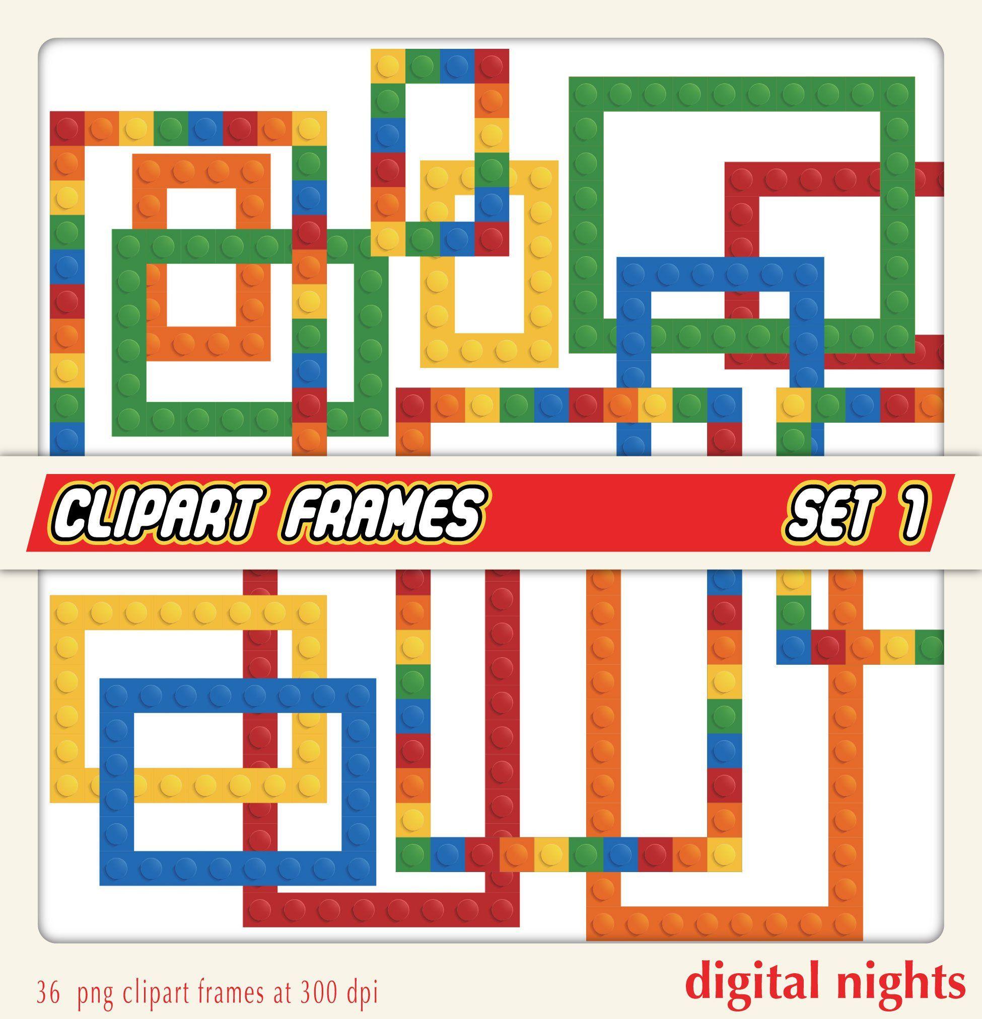 Building Blocks Clipart Frames Set 1 Photo Frames Digital