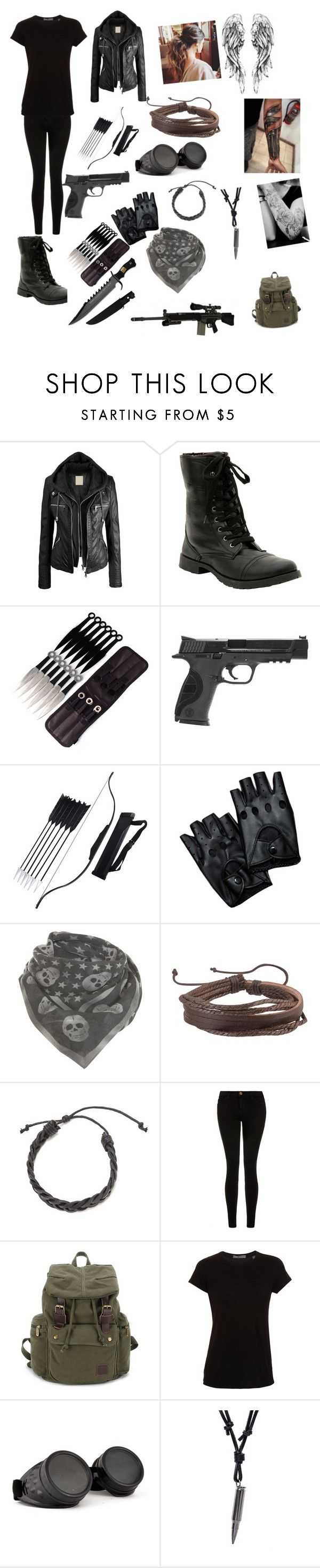 """Z Nation 10k"" by classicrockgirl ❤ liked on Polyvore featuring Smith & Wesson, RIFLE, Miss Selfridge, Zodaca, Current/Elliott, Vince, GAS Jeans, women's clothing, women and female"