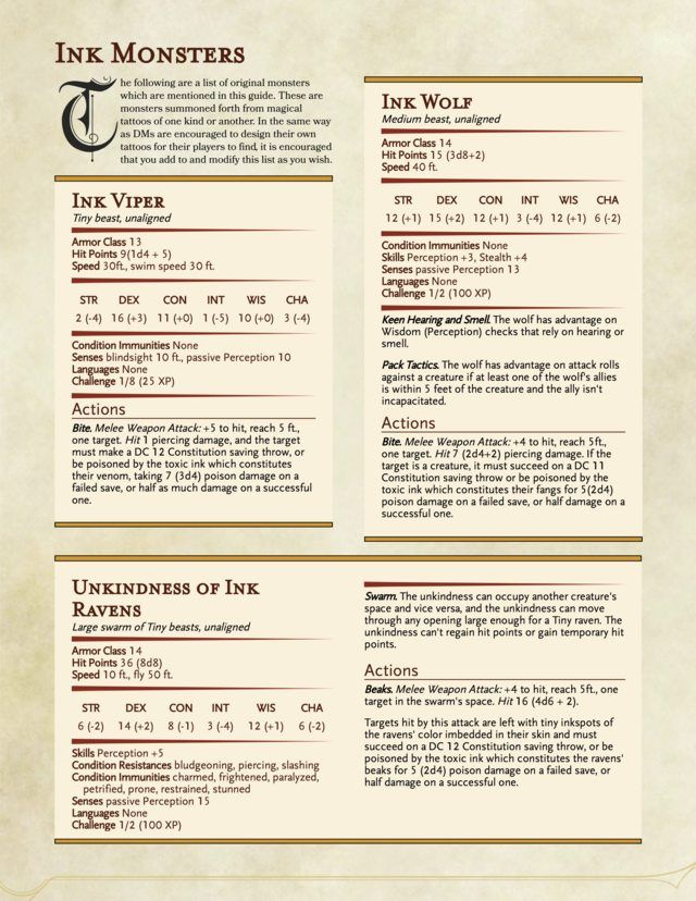 A Guide To Magical Tattoos V 10 Dd Adventures And Jokes