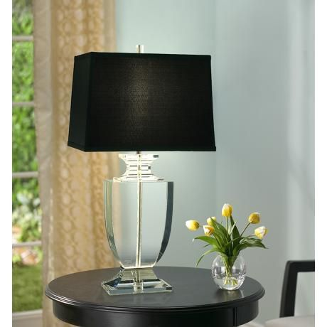 Artemis Clear Lead Crystal Table Lamp With Black Shade 36463 Lamps Plus Crystal Table Lamps Table Lamp Crystal Lamp
