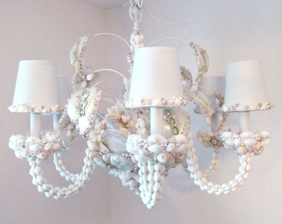 Check out this item in my etsy shop httpsetsylisting seashell chandelier chandelier lighting shell by sandisshellscapes aloadofball Image collections