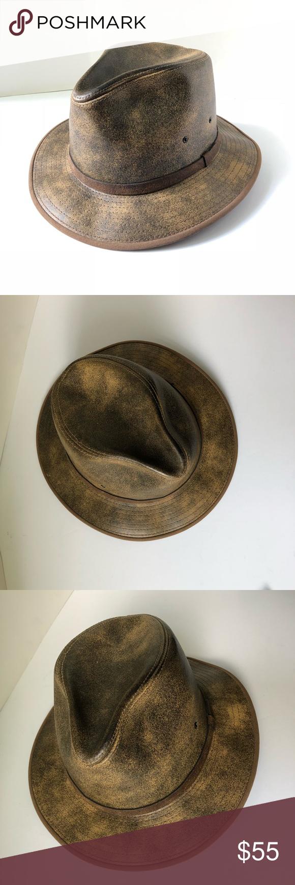 Vintage Henschel Hat Co Safari Fedora Hat Leather Henschel Hats Fedora Fedora Hat