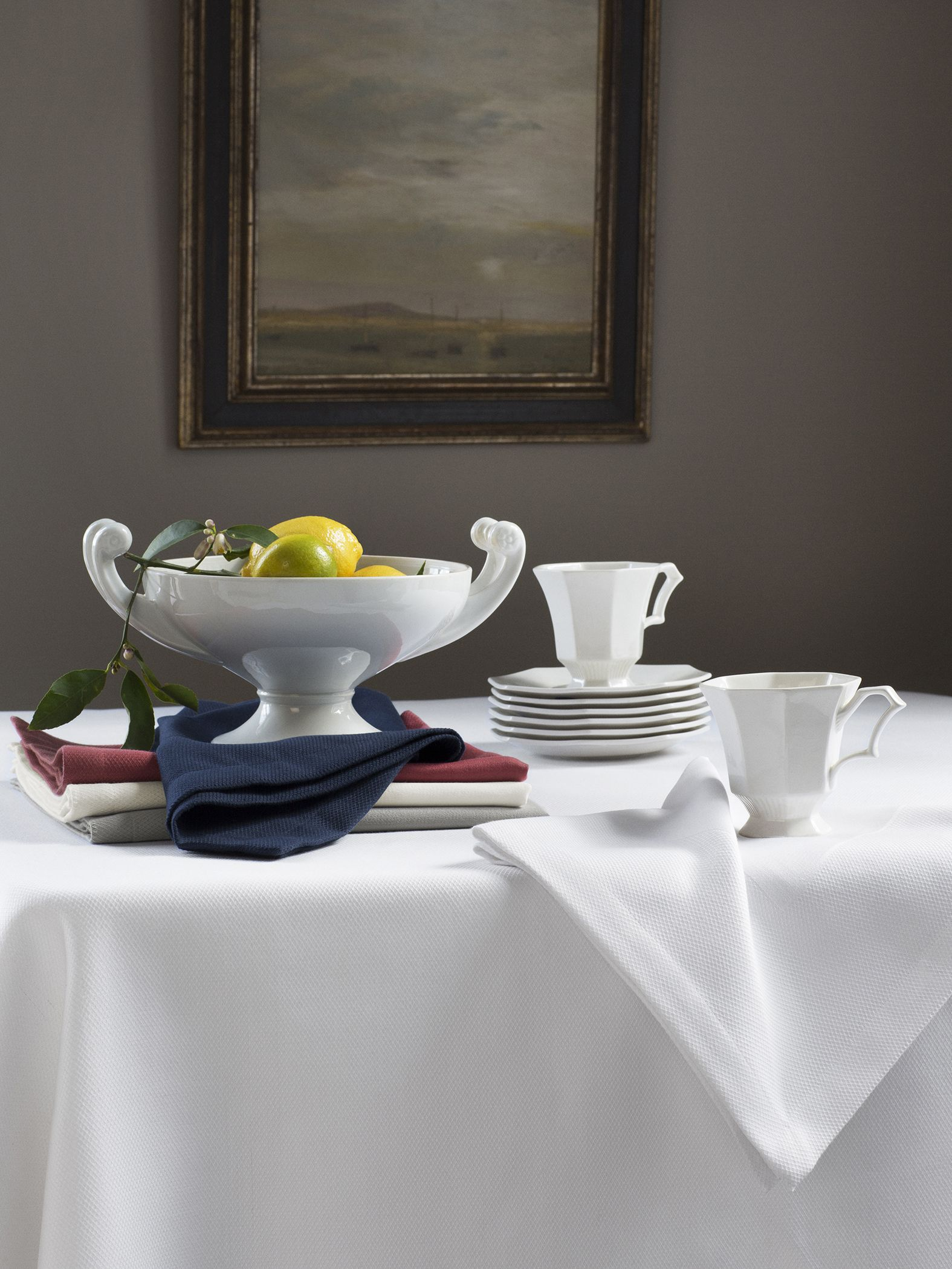 Smartly tailored to look like a classic hotelier's table linen: Squire.
