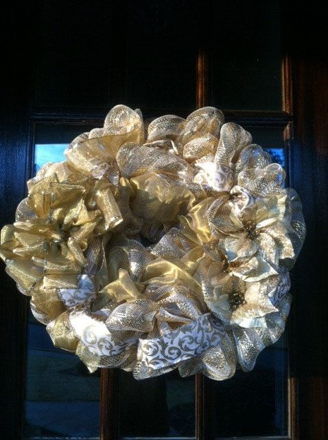 Gold and White Poly Deco Mesh Wreath