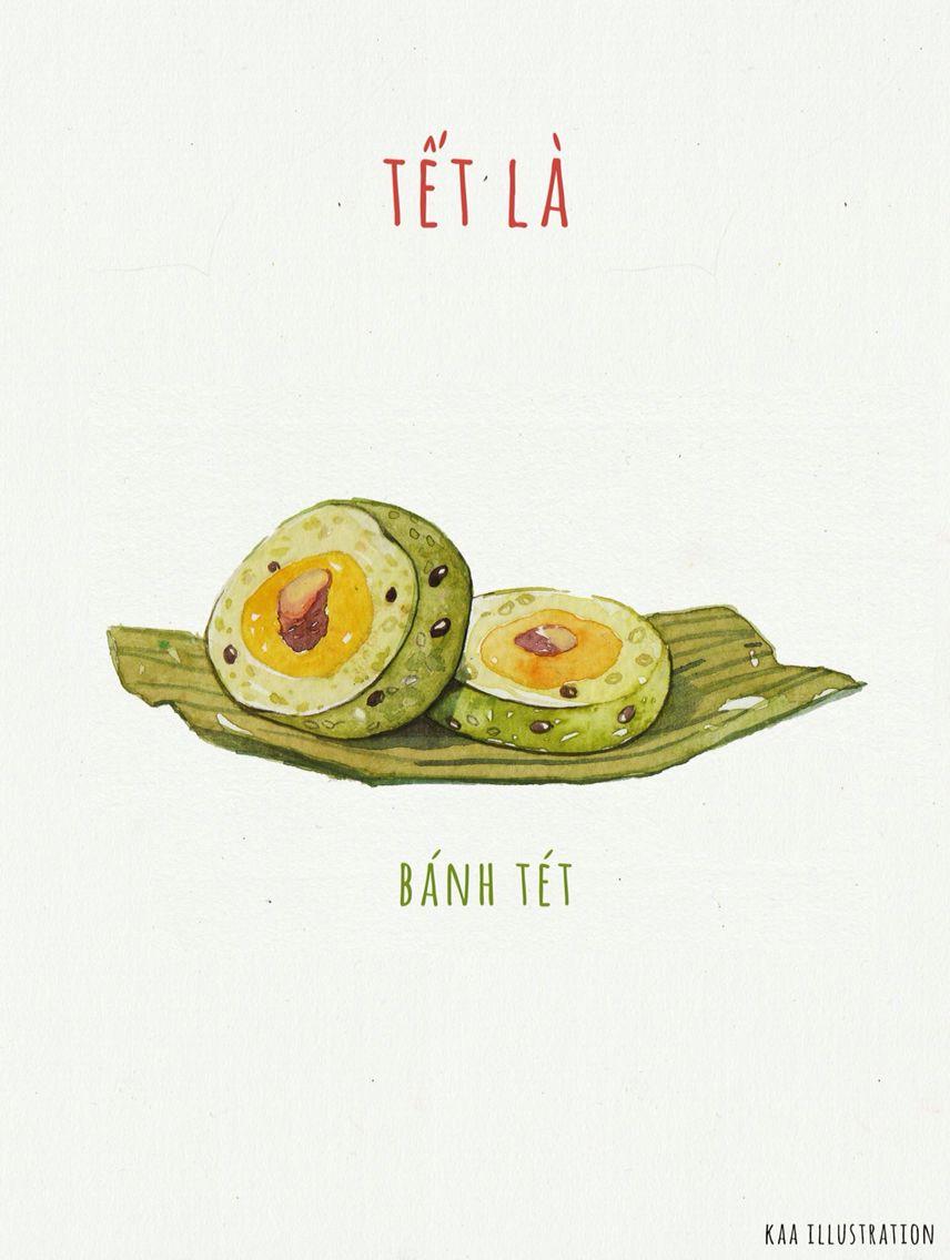 banh tet vietnamese food illustration | food illustrations