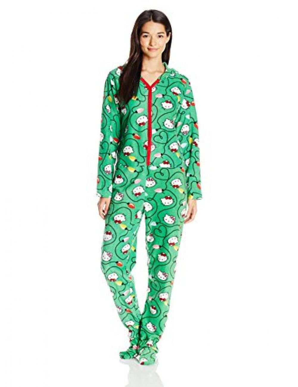 8f22146fa Hello Kitty Women's Ugly Holiday Footed Pajamas with Hood Footed pajamas in  allover festive Hello Kitty print featuring print-matched hood at back and  snap ...