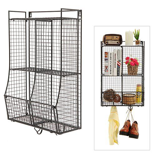 wall mounted collapsible black metal wire mesh storage. Black Bedroom Furniture Sets. Home Design Ideas