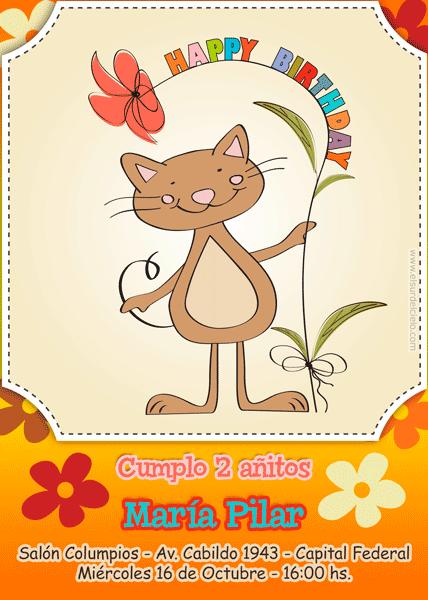 New birthday invitation card. Nuevo modelo de invitación para cumpleaños. Disponible en www.elsurdelcielo.com