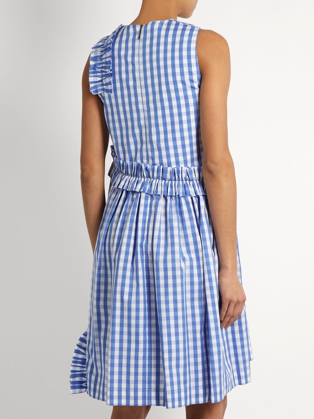83c074fdc1b227 Sleeveless ruffle-trimmed cotton-gingham dress