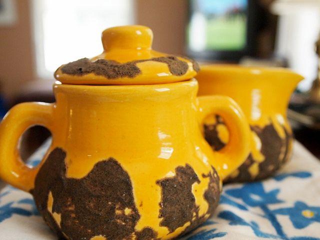 Laurentian Pottery - golden yellow Fat Lava