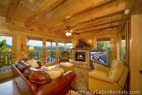 Mountain Sunrise - This 2 bedroom cabin has a pool table, rocking chairs on the deck, hot tub and so much more! #preserve