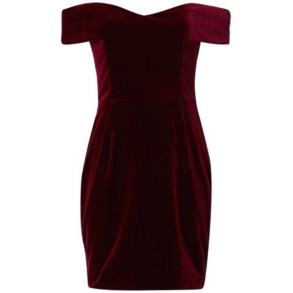 15559f88536e Nicholas Women's Off The Shoulder Velvet Dress (62090 RSD) ❤ liked on  Polyvore featuring dresses, red off shoulder dress, sheath cocktail dress,  ...