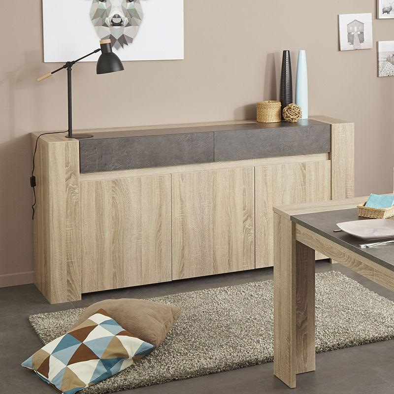 Buffet Bahut Couleur Chene Clair Et Effet Beton Fonce Contemporain Kouak Mobilier De Salon Buffet Bahut Decoration Maison