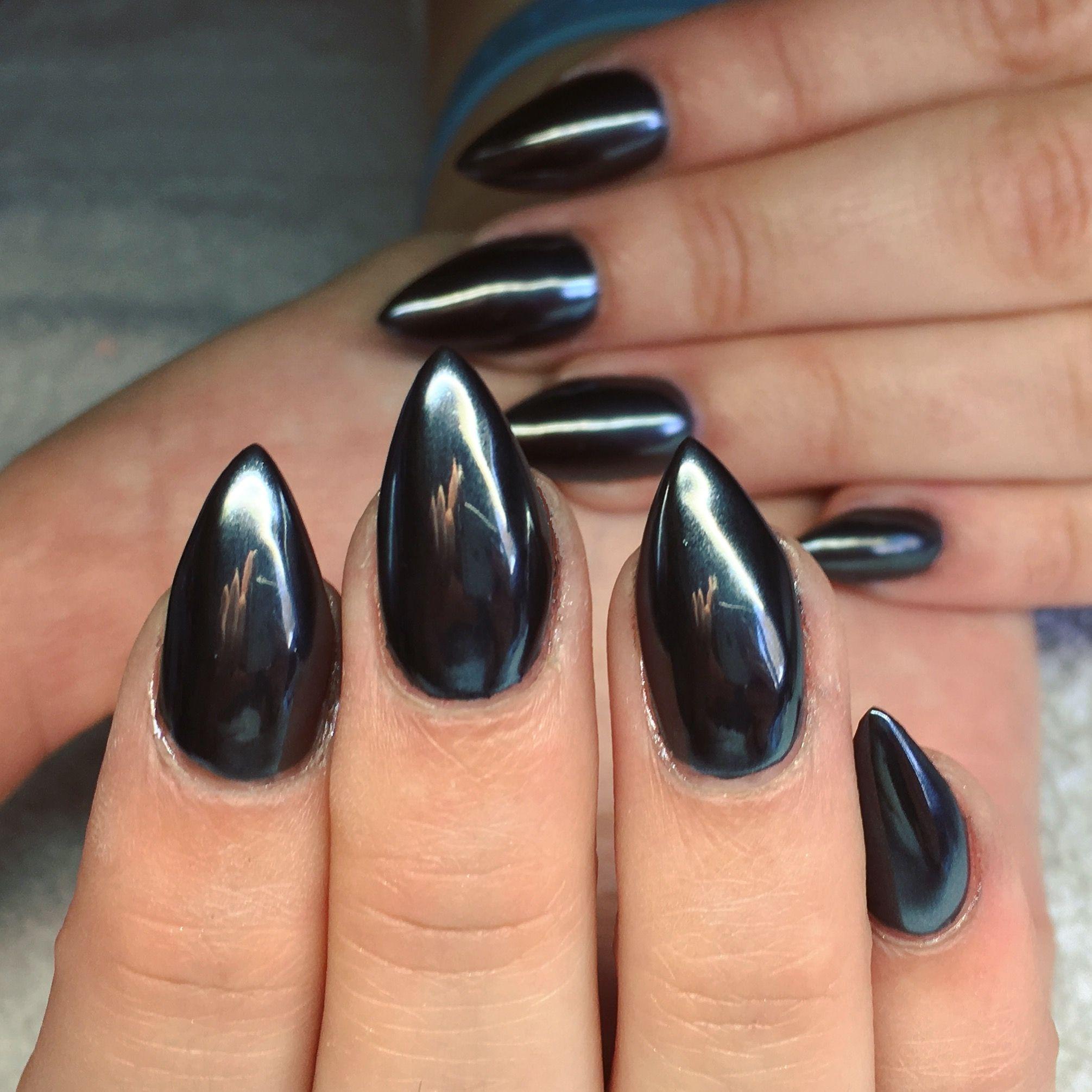 full coverage black chrome nails