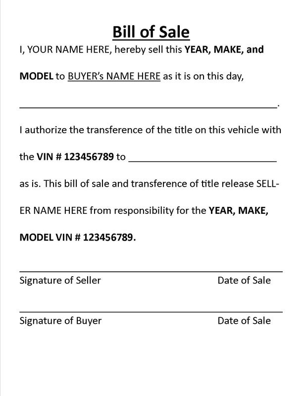 Bill Of Sale And Tips For BuyingSelling A Car Privately