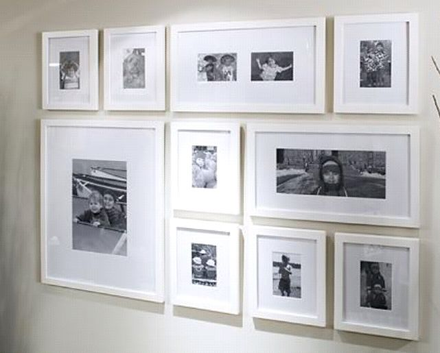 Frame Collage White Modern Frames With Grid Arrangement But Different Proportions Of Frames Includin Gallery Wall Layout Gallery Wall Frames Ikea Gallery Wall
