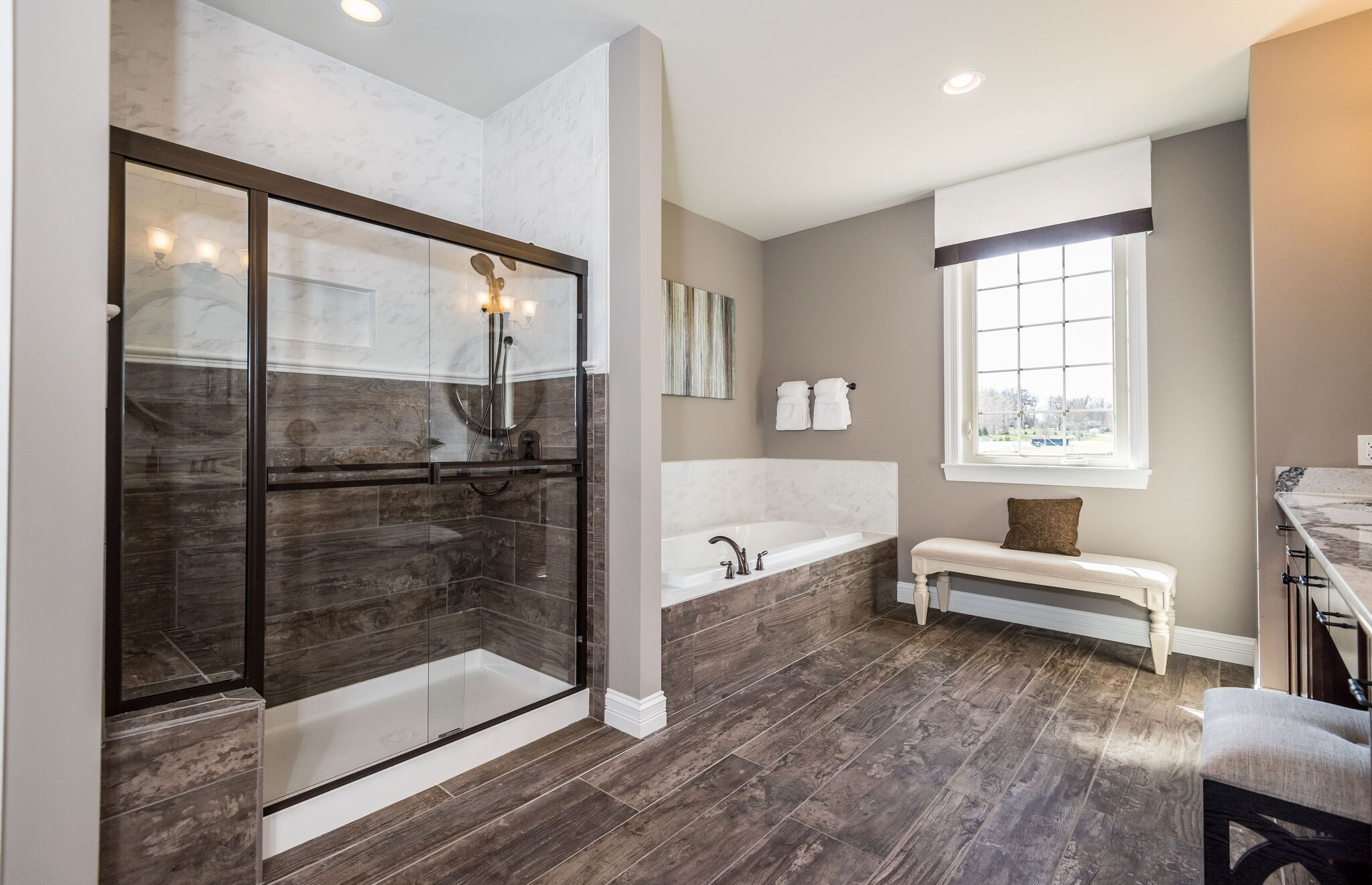 Why Stop At The Floors When You Re Feeling Woodsy In This Rustic Chic Bathroom Wood And Glass Come T Bathroom Design Help Pulte Homes Bathroom Neutral Colors