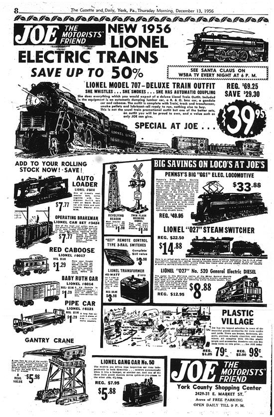 Lionel trains for Christmas 1956   York County History