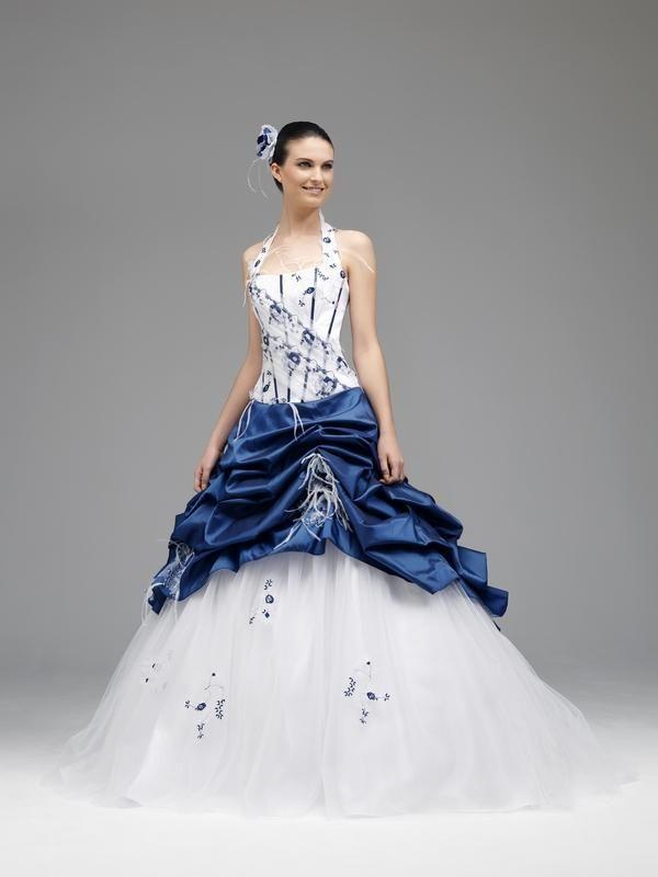 Robe mariee bleue et blanc | Robe de marié