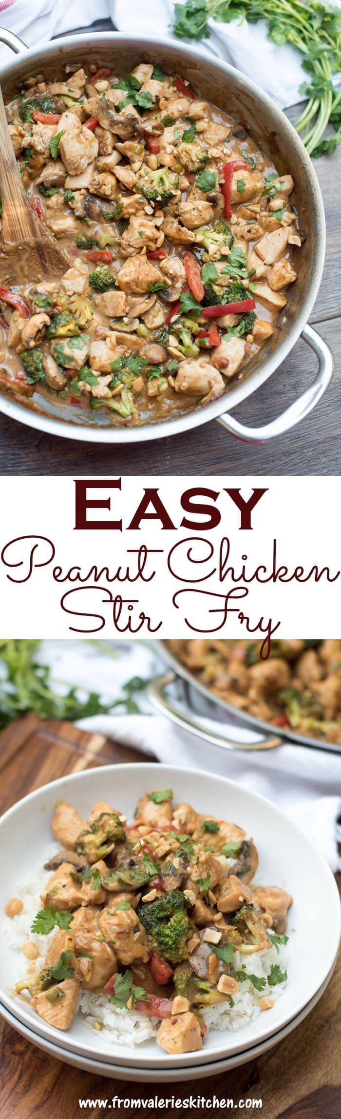 This Easy Peanut Chicken Stir Fry is loaded with chicken, vegetables, and the dreamy, irresistible flavor of peanut sauce that we crave so much! ~ http://www.fromvalerieskitchen.com