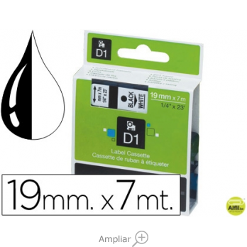CINTA DYMO NEGRO-BLANCO 19MM X 7MT D1