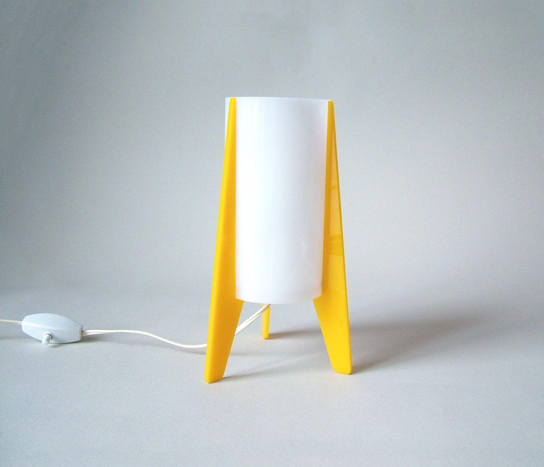 Vintage yellow white rocket desk lamp panton style white acrylic vintage yellow white rocket desk lamp panton style white acrylic lamp shade on plastic feet mid aloadofball Images