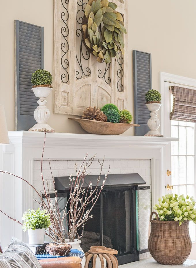 My Spring Fireplace Mantel And Hearth Magnolia Leaves