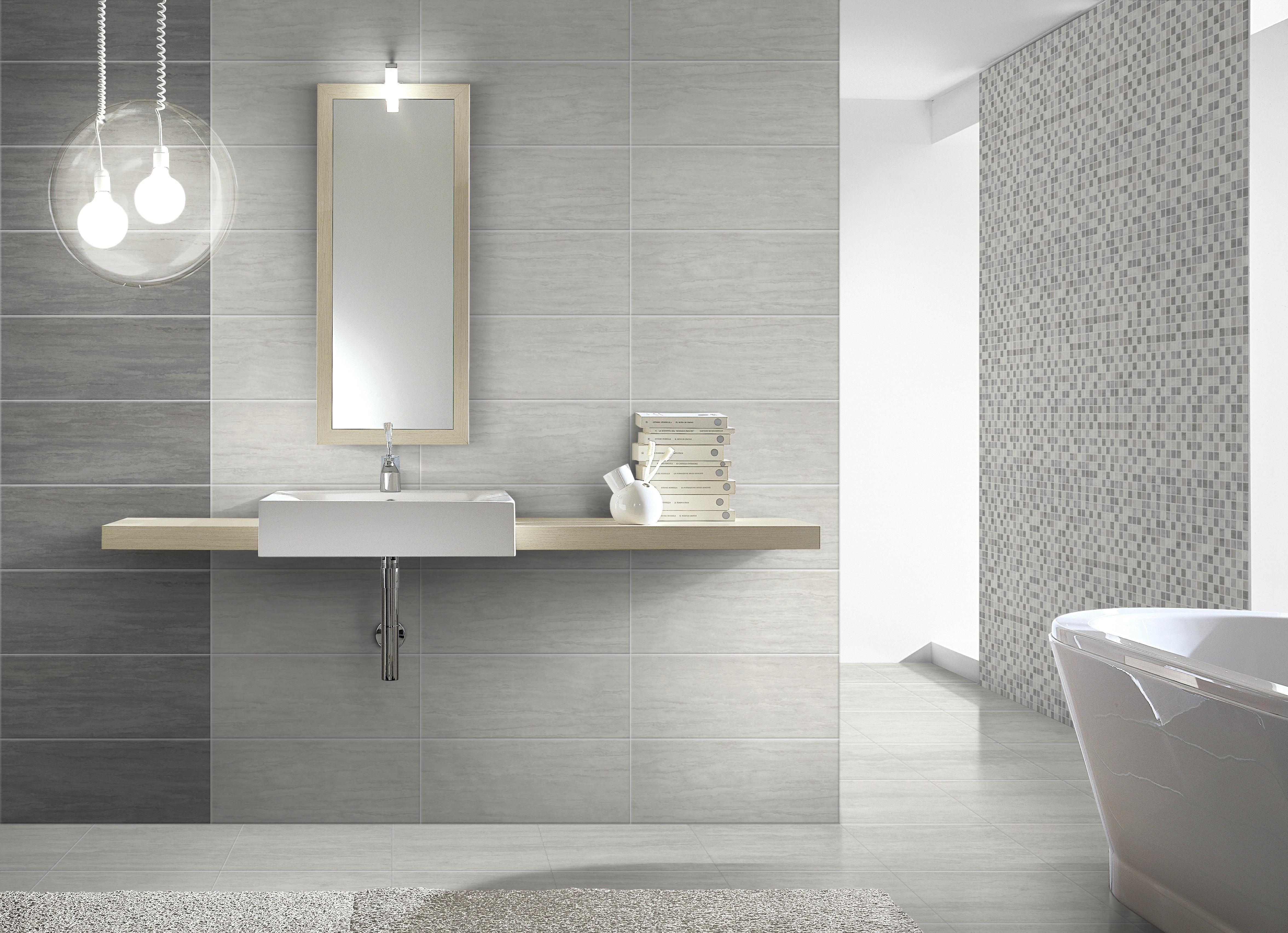 Rivestimento bagno travertino mosaico grigio 20x50x0 7 cm