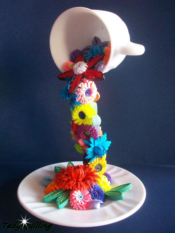 FLYING CUP with quilling flowers, Quilling Art, Quilled Home Decoration