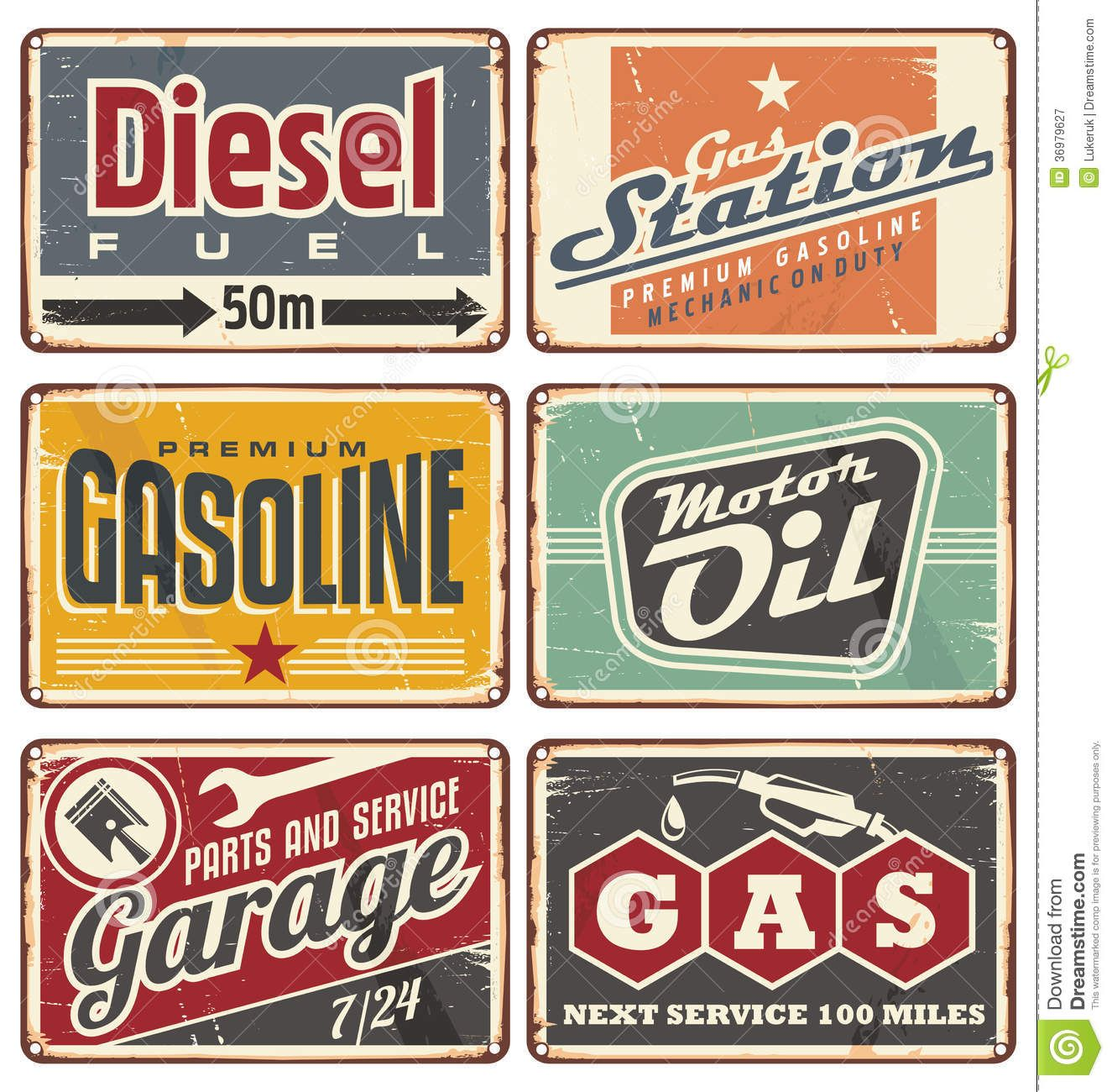 Gas Stations And Car Service Vintage Tin Signs Download From