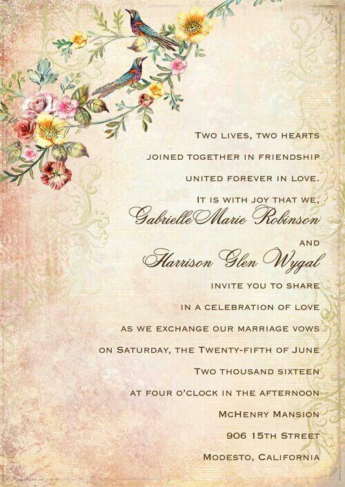 Beautiful Invite Sample Wedding Invitation Wording Wedding Card
