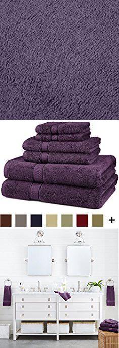 Eggplant Bath Towels Pinzon Blended Egyptian Cotton 6 Piece