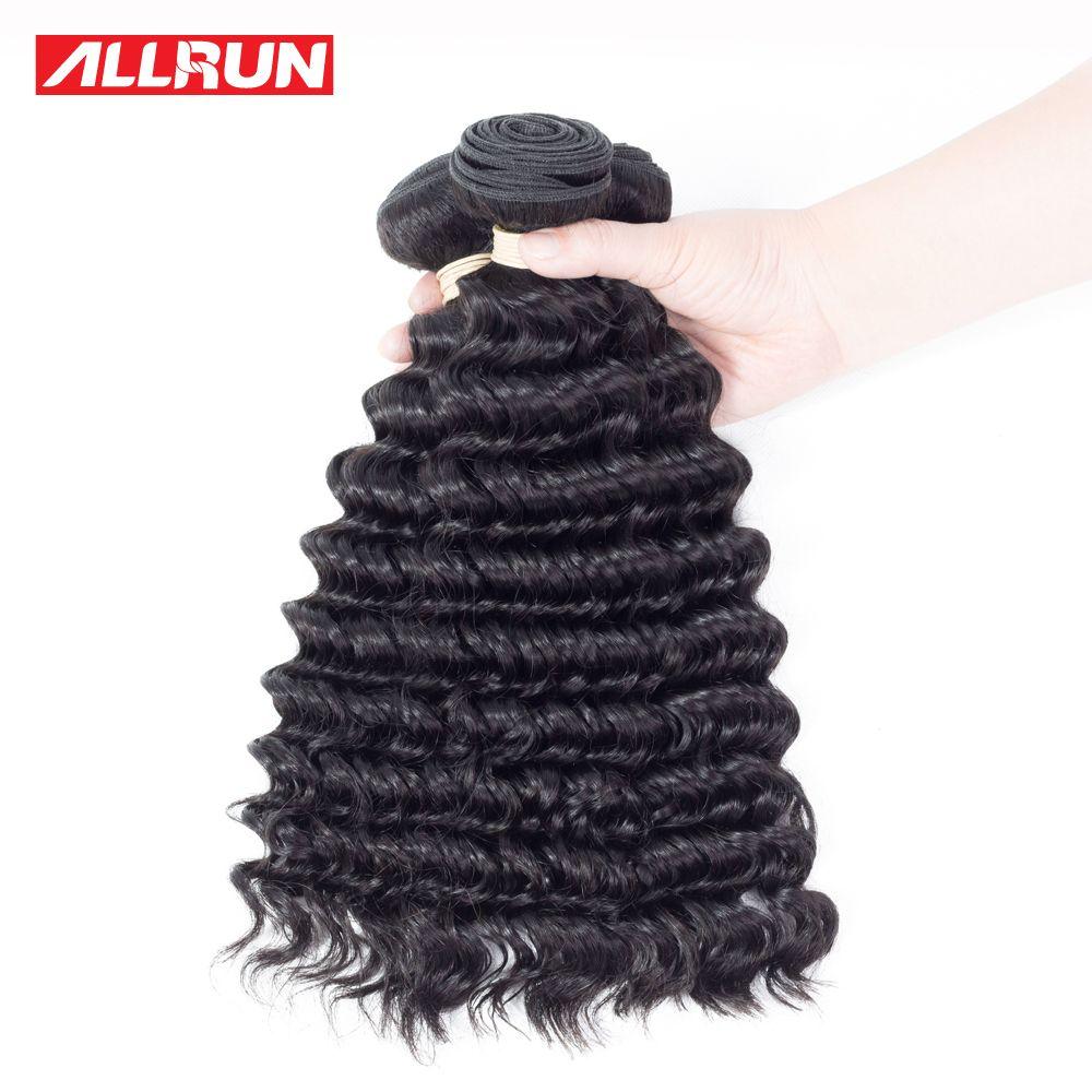 Allrun deep wave brazilian hair weave bundles human hair