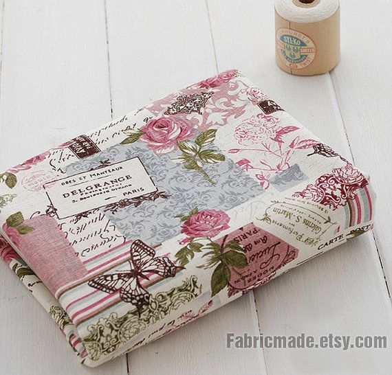 Vintage Fabric French Country Fabric  Linen Cotton by fabricmade, $7.60
