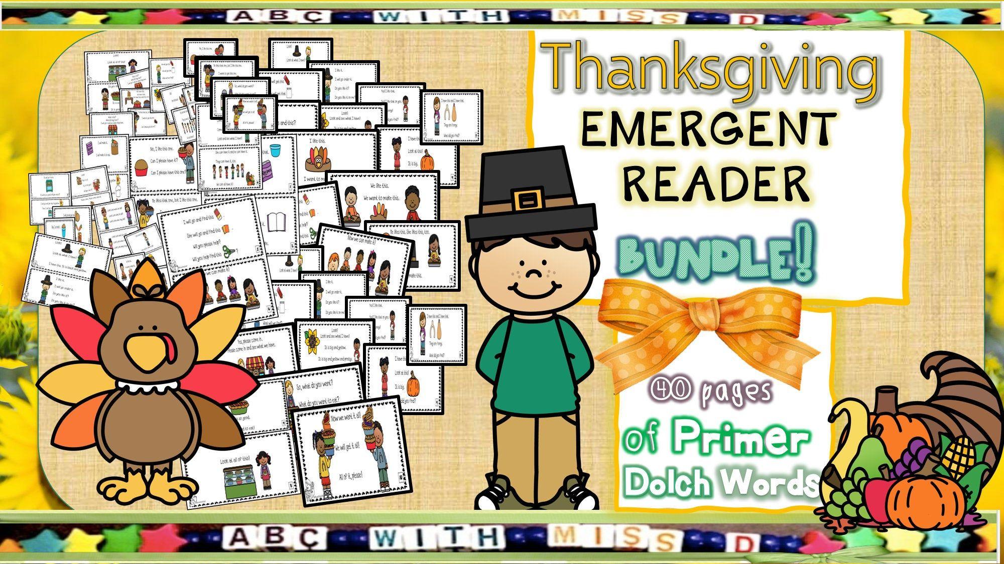 Thanksgiving Themed Emergent Reader Bundle 4 Printable