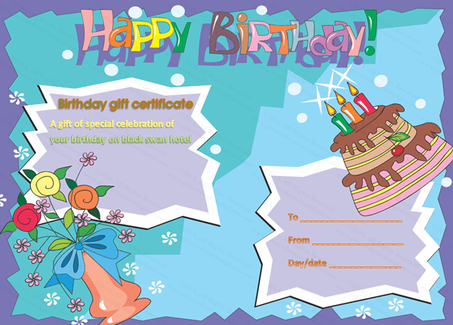 Multicolored Birthday Cake Gift Certificate Template  Beautiful