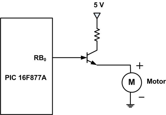 a simple connection of a dc motor to pic16f877a