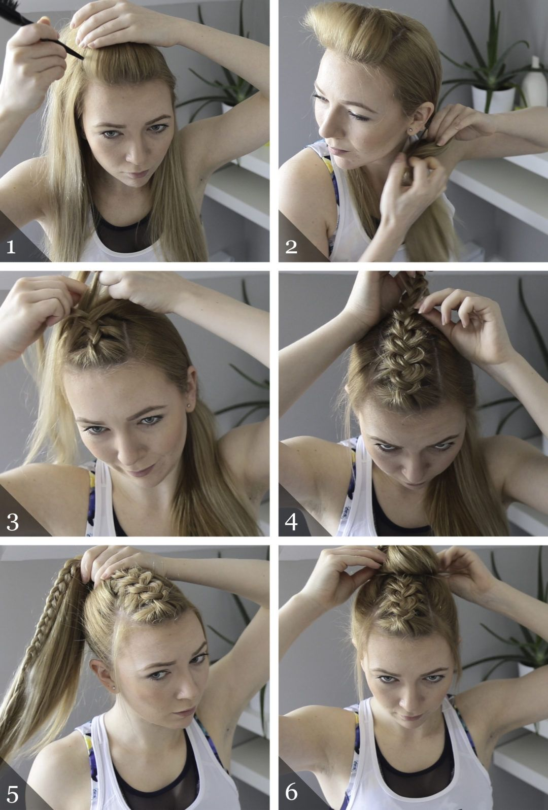 Workout hairstyle dutch braid topknot hairstyles in