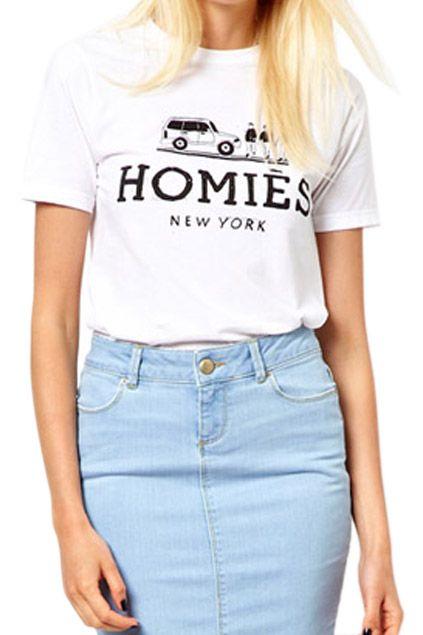 #Homies #TShirt #ROMWE Black Letters & Car Print White T-shirt