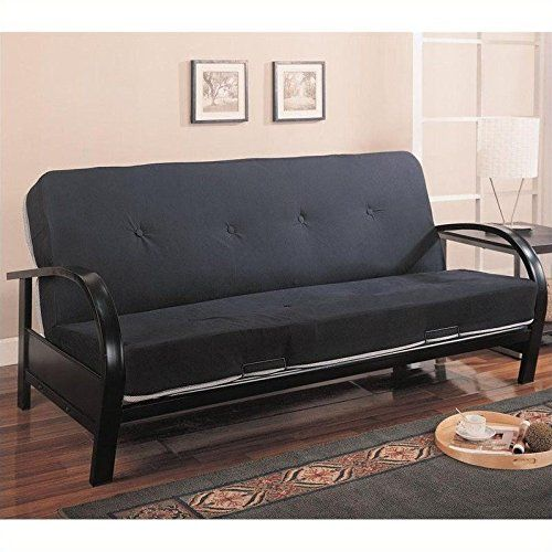 coaster home furnishings transitional futon frame black home rh pinterest com