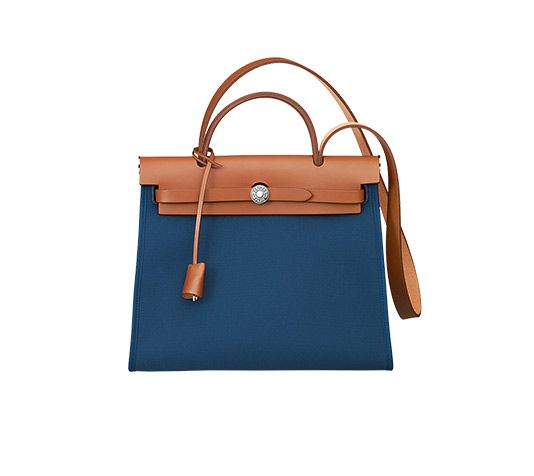 a128bd6da Herbag Zip 31 Hermes bag in Malta blue canvas with natural hunter  cowhide(size PM