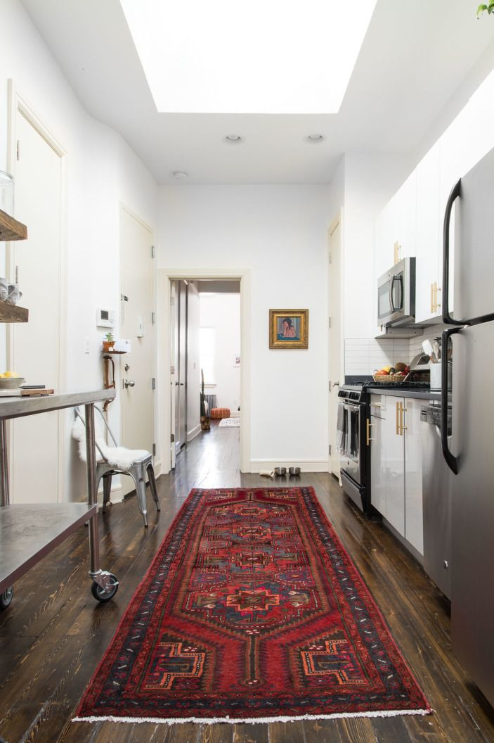 Typical Of A New York Apartment You Walk Right Into The Kitchen Or Fill In Some Other Awkward E So To Set It Apart I Laid Out Beautiful Rug