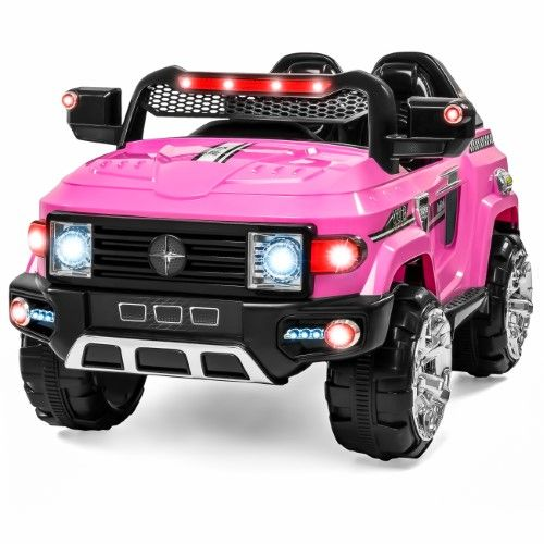 12v Mp3 Kids Ride On Truck Car R C Remote Control Led Lights Aux And Music Pink Jet Com Kids Ride On Remote Control Trucks Car