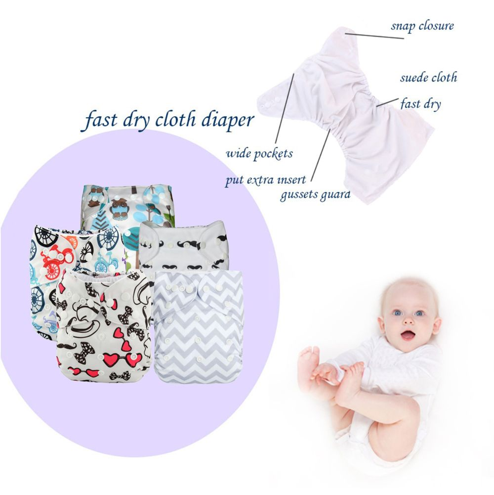 5PCS Baby Diapers Bamboo Eco Cotton Diapers Nappy Newborn Baby Infant Kids Child