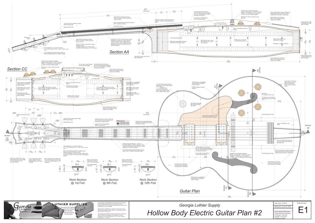 hollowbody electric guitar plans 4 electronic version [ 1200 x 849 Pixel ]